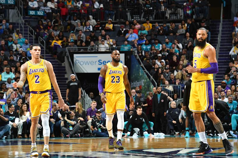 quality design 6d59b be64d LeBron James, Lonzo Ball record triple-doubles in win over Charlotte