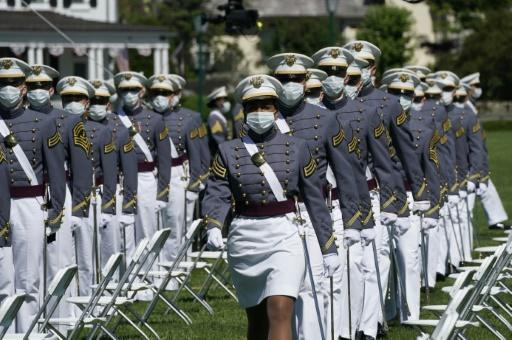 """Asked about graduating West Point cadets wearing face masks US President Donald Trump replied, """"If that's the way they feel, I think that's fine"""""""