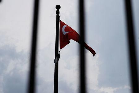 FILE PHOTO: The Turkish flag flies at the Embassy of Turkey in Washington, U.S., August 6, 2018.     REUTERS/Brian Snyder