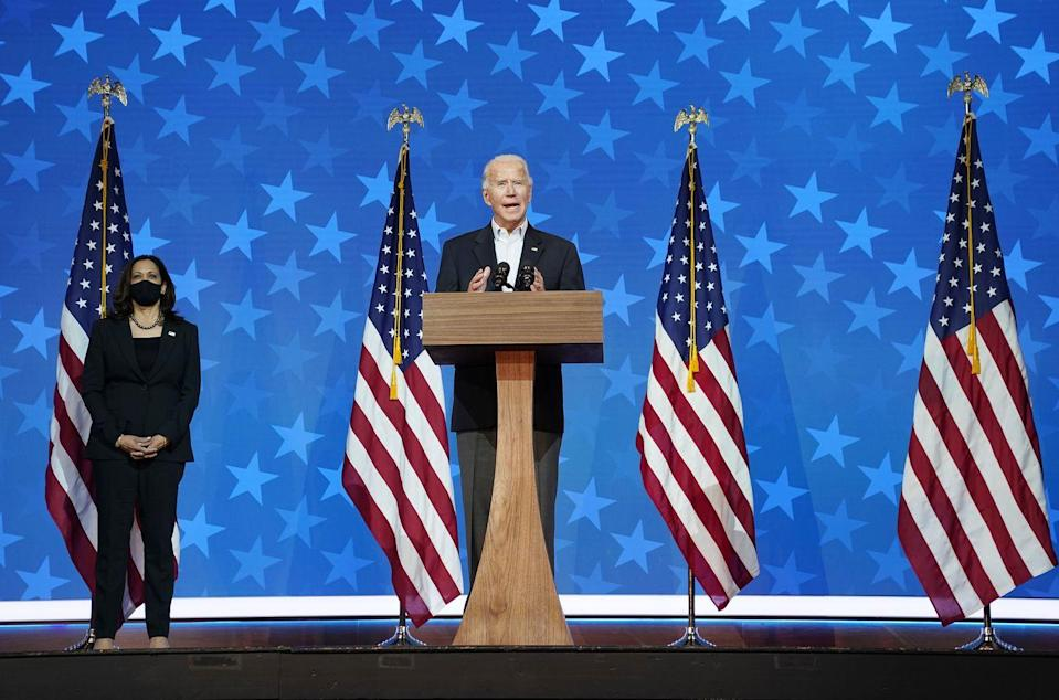 <p>On November 5, as votes continued to be counted, Biden once again asked Americans to remain patient, and reiterated his confidence that he and Kamala Harris would ultimately win the election. Later that evening, Donald Trump addressed the country form the White House briefing room, once again citing fraud as the election continued to slip away from him. Overnight into November 6, Biden took the lead from Trump in Pennsylvania and Georgia. </p>