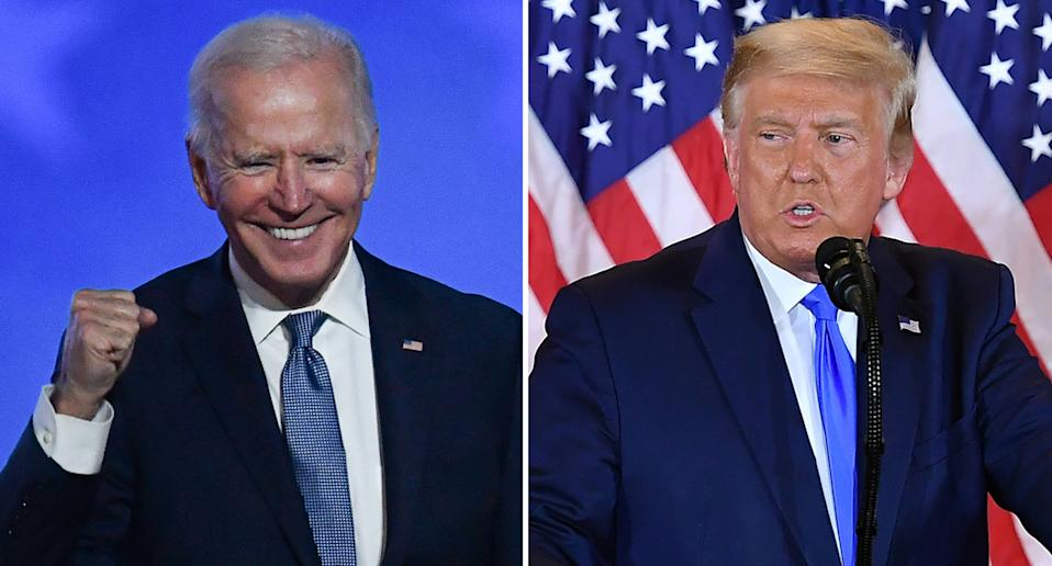 Joe Biden clenches his fist (left) while Donald Trump speaks into a microphone (right).