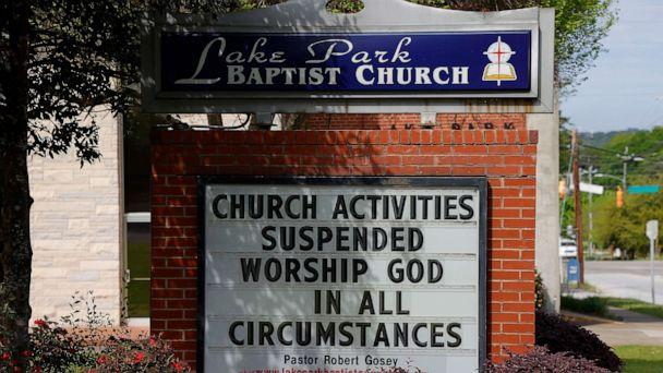 PHOTO: A view of the sign at Lake Park Baptist Church as all church activities have been suspended due to the coronavirus on March 30, 2020 in Augusta, Ga. (Kevin C. Cox/Getty Images)