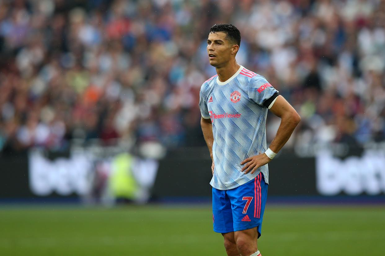 LONDON, ENGLAND - SEPTEMBER 19: Cristiano Ronaldo of Manchester United during the Premier League match between West Ham United and Manchester United at London Stadium on September 19, 2021 in London, England. (Photo by Craig Mercer/MB Media/Getty Images)