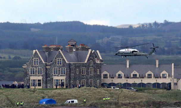 PHOTO: In this file photo taken on June 6, 2019, Marine One, carrying US President Donald Trump and First Lady Melania Trump comes in to land at the Trump International Golf resort near the village of Doonbeg in Ireland. (Paul Faith/AFP/Getty Images, FILE)