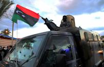 Libyan security forces held a military parade on Tuesday to kick off anniversary events, here pictured in Tajoura