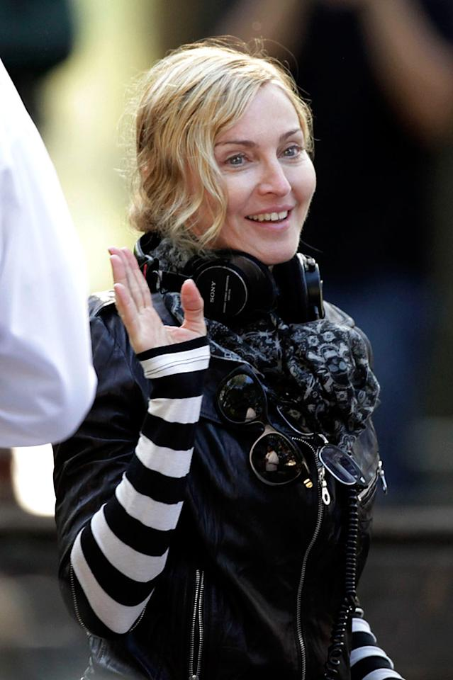 """It's a little more challenging to go makeup-free at age 52, but Madonna did just that while filming """"W.E."""" in NYC's Central Park. <a href=""""http://www.PacificCoastNews.com"""" target=""""new"""">PacificCoastNews.com</a> - September 17, 2010"""