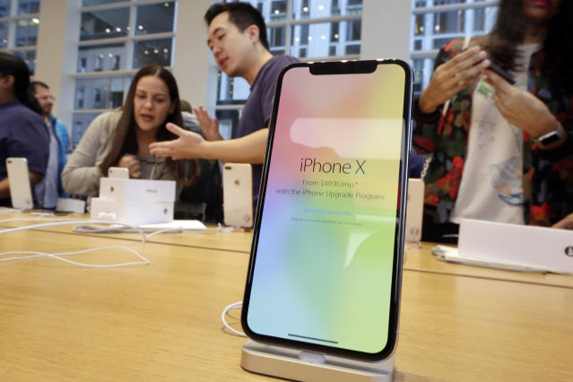 Apple is expected to unveil its biggest and most expensive iPhone on Wednesday, Sept. 12, 2018, as part of a lineup of three new models aimed at widening the product's appeal amid slowing sales growth. (AP Photo/Richard Drew)