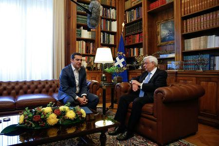 Greek Prime Minister Alexis Tsipras briefs Greek President Prokopis Pavlopoulos on developments on the name dispute with Macedonia, in Athens, Greece May 19, 2018. REUTERS/Costas Baltas