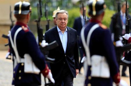 U.N. Secretary General Antonio Guterres arrives for a meeting at the presidential palace in Bogota, Colombia January 13, 2018. REUTERS/Jaime Saldarriaga