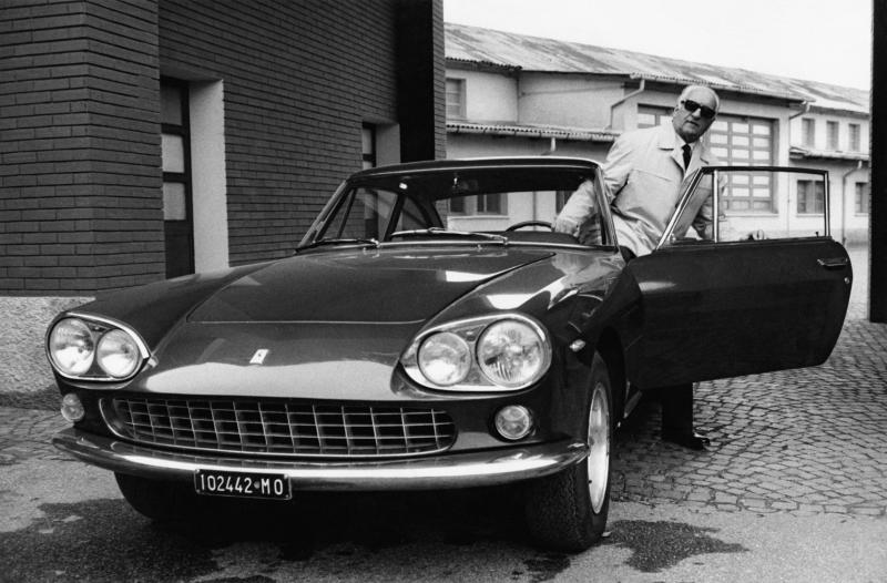 Italian entrepreneur and racing driver Enzo Ferrari getting out of a Ferrari car in 1966 (Photo by Mondadori via Getty Images)
