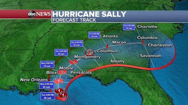 PHOTO: As Sally continues to crawl inland over Alabama and Georgia, historic rainfall and flooding is possible in the area. (ABC News)