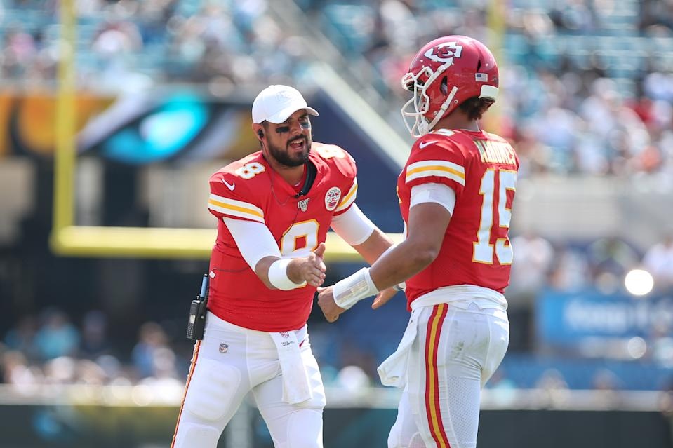 Matt Moore (left) will return to back up Patrick Mahomes in Kansas City this season. (Photo by David Rosenblum/Icon Sportswire via Getty Images)
