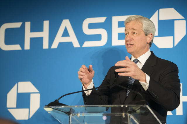 JPMorgan Chase & Co. Chairman and CEO Jamie Dimon speaks at a luncheon on Thursday, April 19, 2018 in Washington. (Kevin Wolf/AP Images)