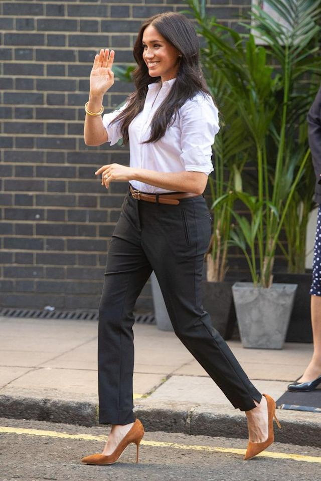 The Duchess of Sussex launches her Smart Works capsule collection last year [Photo: Getty]