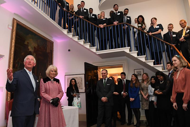 LONDON, ENGLAND - FEBRUARY 13: Prince Charles, Prince of Wales and Camilla, Duchess of Cornwall during a tour of the Cabinet Office on February 13, 2020 in London, England. Their Royal Highnesses toured the Cabinet Office building to recognise the work it undertakes on behalf of the government. The Cabinet Office supports the Prime Minister and ensure the effective running of government. It is also the corporate headquarters for government, in partnership with HM Treasury, and takes the lead in certain critical policy areas. (Photo by Daniel Leal Olivas - WPA Pool/Getty Images)