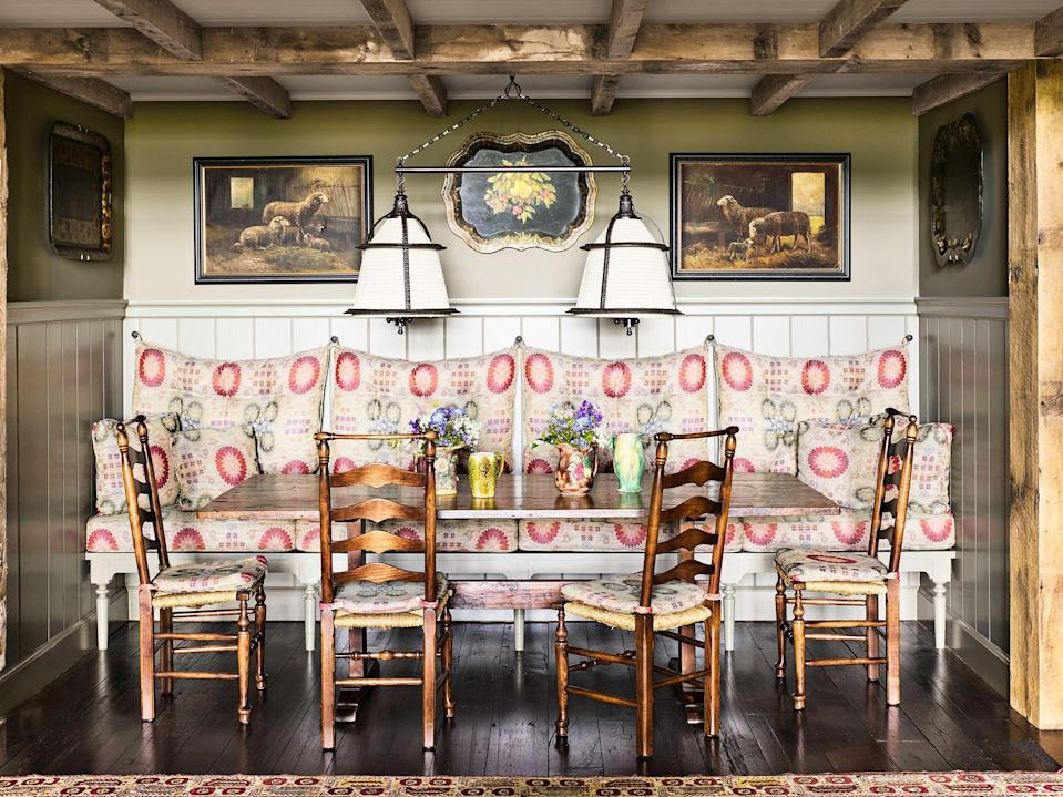 """<p>Banquette seating is the surest way to add polish and comfort to a dining room, eat-in kitchen, studio, <a href=""""https://www.housebeautiful.com/room-decorating/kitchens/g2203/breakfast-nooks/"""" rel=""""nofollow noopener"""" target=""""_blank"""" data-ylk=""""slk:breakfast nook"""" class=""""link rapid-noclick-resp"""">breakfast nook</a>, <a href=""""https://www.housebeautiful.com/room-decorating/living-family-rooms/g26090946/game-room-ideas/"""" rel=""""nofollow noopener"""" target=""""_blank"""" data-ylk=""""slk:game room"""" class=""""link rapid-noclick-resp"""">game room</a>, or really any place with a table that could use a little perch. So what differentiates a banquette from just a normal bench or built-in? A banquette is a bench meant to provide extra table-adjacent seating, and it's usually upholstered. If you're someone who has always preferred the intimacy and comfort of a restaurant <a href=""""https://www.housebeautiful.com/design-inspiration/a30291138/sitting-nooks/"""" rel=""""nofollow noopener"""" target=""""_blank"""" data-ylk=""""slk:booth"""" class=""""link rapid-noclick-resp"""">booth</a> instead of sitting in regular old chairs, then it's high-time you treat yourself to a banquette at home. Ahead, discover fifteen banquette seating ideas in designer spaces of all styles and spaces for <a href=""""https://www.housebeautiful.com/room-decorating/living-family-rooms/g30520745/window-seats/"""" rel=""""nofollow noopener"""" target=""""_blank"""" data-ylk=""""slk:cozier"""" class=""""link rapid-noclick-resp"""">cozier</a> days ahead. </p>"""