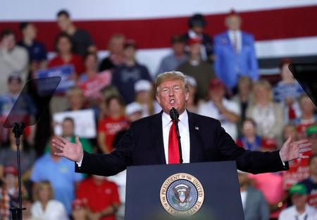 U.S. President Donald Trump holds a campaign rally in Erie, Pennsylvania, U.S., October 10, 2018. REUTERS/Leah Millis