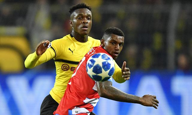Club Brugge forward Wesley Moraes (red and white shirt) in action against Borussia Dortmund's Dan-Axel Zagadou.