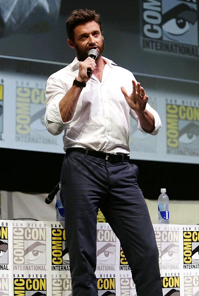 Hugh Jackman seen at the 20th Century Fox Presentation at 2013 Comic-Con, on Saturday, July, 20, 2013 in San Diego, Calif. (Photo by Eric Charbonneau/Invision for 20th Century Fox/AP Images)
