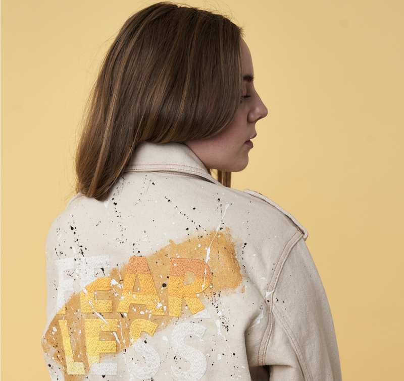 Charlotte Taylor-Frape makes customised clothing with empowering slogans