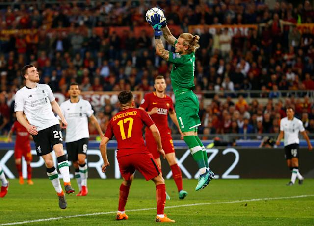 <p>Soccer Football – Champions League Semi Final Second Leg – AS Roma v Liverpool – Stadio Olimpico, Rome, Italy – May 2, 2018 Liverpool's Loris Karius in action REUTERS/Tony Gentile </p>