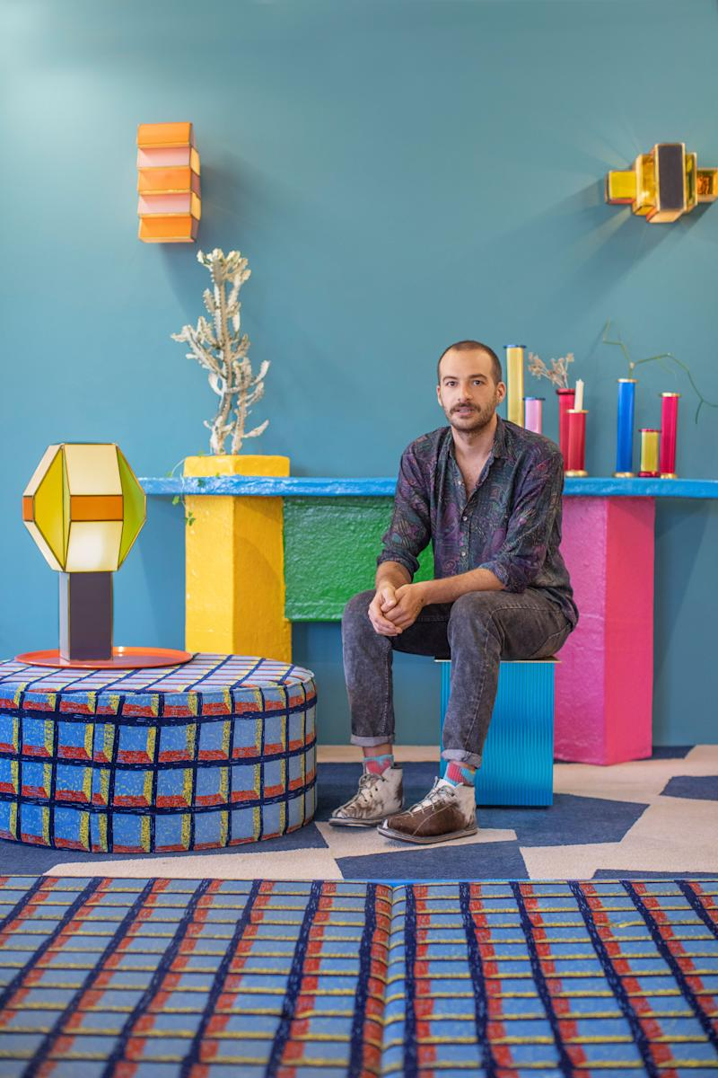 """""""Everywhere I looked, someone was making something,"""" Fabien Cappello recalls of his first visit to Mexico City. Objects he assumed were industrially produced, he discovered, were actually made in small workshops. He wanted to delve deeper. Relocating from London in 2016, he has worked with a company that makes CDMX's public bus upholstery to design graphic textiles; he has stacked decorative plastic fruit into table lamps; and he has conceived color-blocked lighting with a local glassworker. Many of those pieces starred in his solo show at the CDMX gallery AGO Projects earlier this year (shown here), for which Cappello aimed to """"confuse the genres of craft and industry."""" Mission expertly accomplished. fabiencappello.com"""