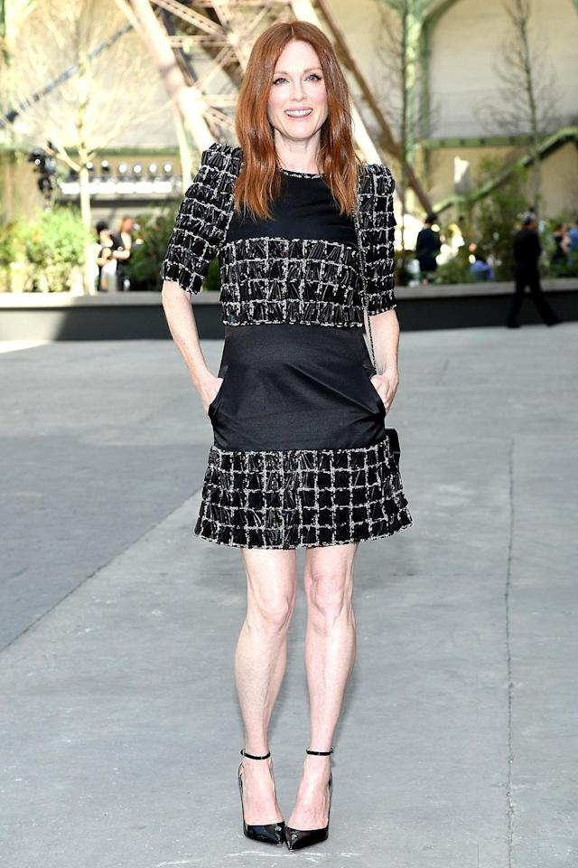 <p>The <i>Big Lebowski</i> actress was lovely — as usual — in a souped-up version of the little black dress at Chanel. (Photo: Pascal Le Segretain/Getty Images) </p>
