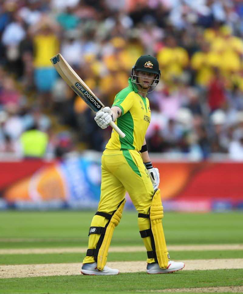 BIRMINGHAM, ENGLAND - JULY 11: Steve Smith of Australia celebrates his half century during the Semi-Final match of the ICC Cricket World Cup 2019 between Australia and England at Edgbaston on July 11, 2019 in Birmingham, England. (Photo by Gareth Copley-IDI/IDI via Getty Images)