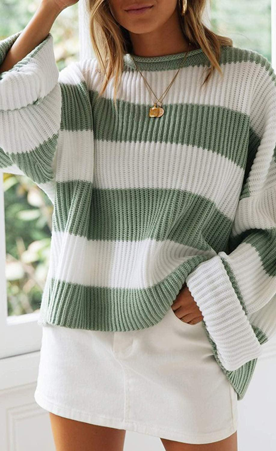 <p>This <span>Zesica Long-Sleeve Crewneck Striped Sweater</span> ($31) has great reviews.</p>