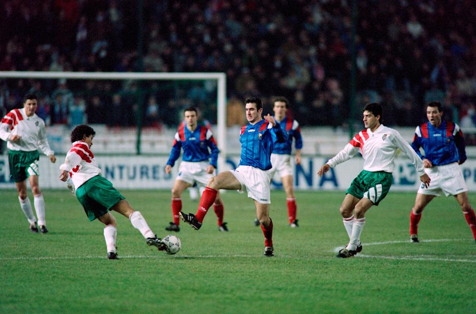 <p>Eric Cantona in action against Bulgaria</p>Getty