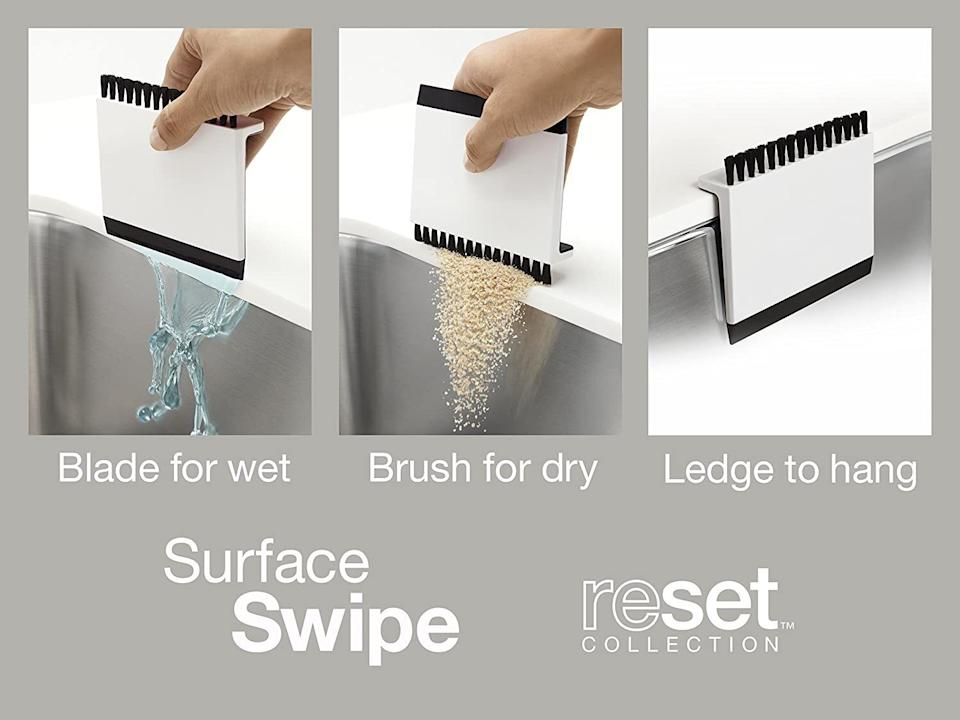 """So you can swipe all your countertop messes directly into the sink. It even has a built-in ledge so you can hang it when not in use.<br /><strong><br />Promising review:</strong>""""LOVE THIS PRODUCT! Saves me so many paper towels, easily washed in the dishwasher, and the small size saves space! Will always have one of these on hand for sure!"""" —<a href=""""https://amzn.to/3mAIFhe"""" target=""""_blank"""" rel=""""nofollow noopener noreferrer"""" data-skimlinks-tracking=""""5892474"""" data-vars-affiliate=""""Amazon"""" data-vars-asin=""""B07NT8WB9G"""" data-vars-href=""""https://www.amazon.com/gp/customer-reviews/R1MWHD74O1YT66?tag=bfdaniel-20&ascsubtag=5892474%2C29%2C33%2Cmobile_web%2C0%2C0%2C16507715"""" data-vars-keywords=""""cleaning"""" data-vars-link-id=""""16507715"""" data-vars-price="""""""" data-vars-product-id=""""15939836"""" data-vars-product-img=""""https://m.media-amazon.com/images/I/3170iODIxwL.jpg"""" data-vars-product-title=""""ATTITUDE Sensitive Skin Shampoo"""" data-vars-retailers=""""Amazon"""">Prime Time Review</a><br /><br /><strong>Get it from Amazon for<a href=""""https://amzn.to/31XOEmy"""" target=""""_blank"""" rel=""""nofollow noopener noreferrer"""" data-skimlinks-tracking=""""5892474"""" data-vars-affiliate=""""Amazon"""" data-vars-asin=""""B00IJYJKRI"""" data-vars-href=""""https://www.amazon.com/dp/B00IJYJKRI?tag=bfdaniel-20&ascsubtag=5892474%2C29%2C33%2Cmobile_web%2C0%2C0%2C16507710"""" data-vars-keywords=""""cleaning"""" data-vars-link-id=""""16507710"""" data-vars-price="""""""" data-vars-product-id=""""18080459"""" data-vars-product-img=""""https://m.media-amazon.com/images/I/31HE6YsItLL.jpg"""" data-vars-product-title=""""KOHLER Kitchen Sink Squeegee and Countertop Brush, Multi-Purpose, White"""" data-vars-retailers=""""Amazon"""">$8.99</a>.</strong>"""