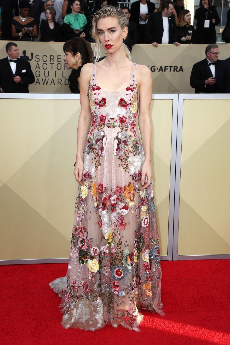 <p>Vanessa paired a nude floral gown with slicked-back hair and a bright red lip on the SAG Awards red carpet. She and the rest of the cast of <em>The Crown </em>is nominated for Outstanding Performance by an Ensemble in a Drama Series tonight.</p>