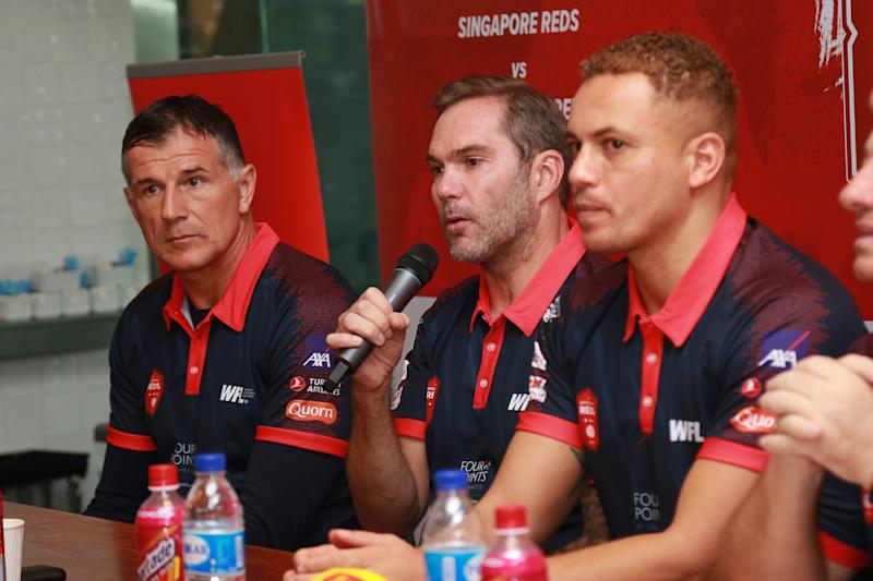 (From left) Singapore Reds' Aleksandar Duric, Liverpool Reds' Jason McAteer and Manchester Reds' Wes Brown at the Battle of the Reds media conference. (PHOTO: World Football Legends)