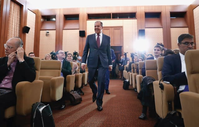 Russian Foreign Minister Sergey Lavrov arrives for a news conference at the Russian Embassy in Washington, May 10, 2017. (Photo: Carolyn Kaster/AP)