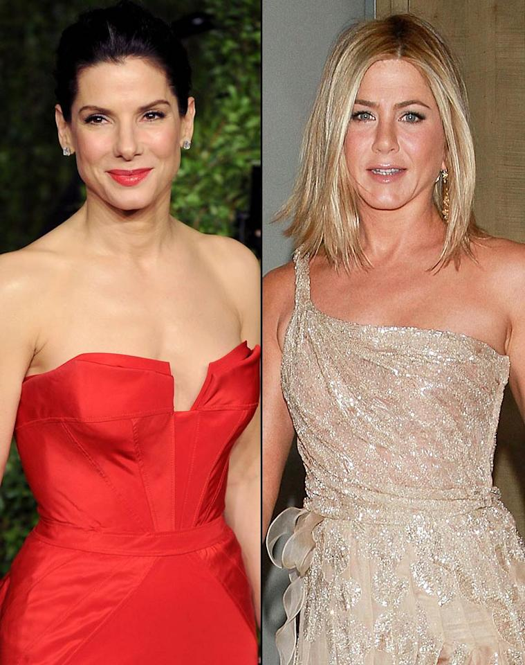 "<i>In Touch</i> reports that Jennifer Aniston and Sandra Bullock are becoming best friends, having bonded over their breakups. According to the mag, ""Jen is helping Sandra cope"" with her divorce from Jesse James, ""having gone through a similar humiliation when Brad Pitt left her for Angelina Jolie."" <i>In Touch</i> adds that Aniston and Bullock ""jokingly call themselves the 'First Wives Club,'"" and want to do a movie together. For how close they've become and what type of film they might do, click over to <a href=""http://www.gossipcop.com/jennifer-aniston-sandra-bullock-first-wives-club-divorce/"" target=""new"">Gossip Cop</a>. <a href=""http://www.wireimage.com"" target=""new"">WireImage.com</a>"