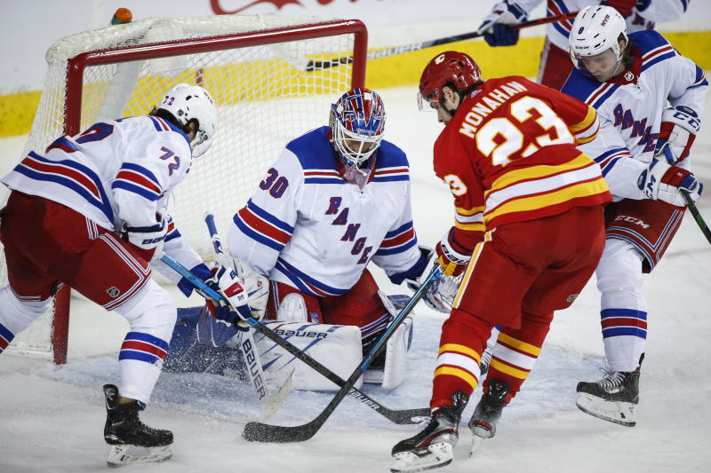 Gaudreau has goal, assist to lead Flames past Rangers 4-3