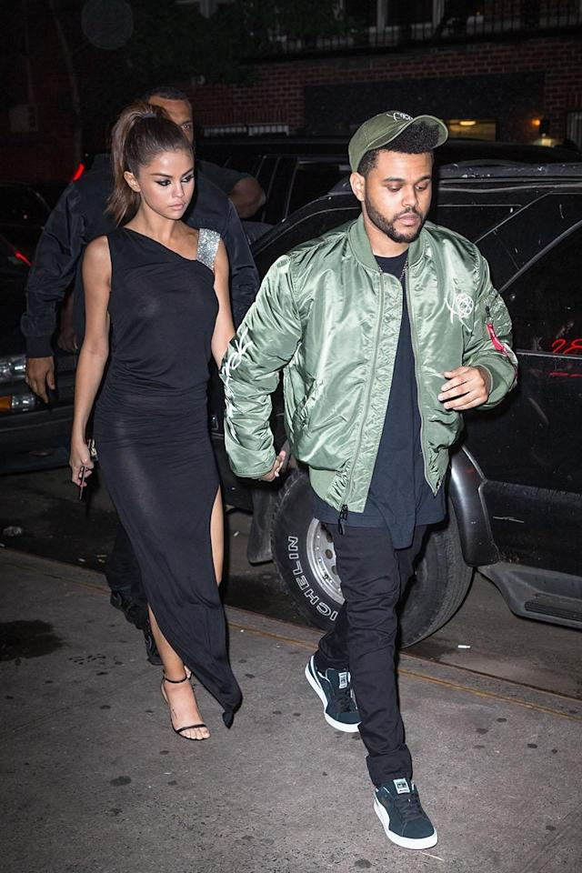 Selena Gomez and The Weeknd attended a dinner with friends after his concert in Brooklyn on Tuesday night. (Photo: Backgrid)