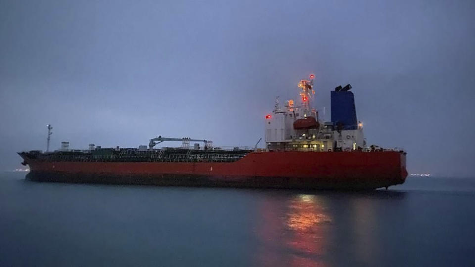 In this photo provided by South Korea Foreign Ministry, The MT Hankuk Chemi leaves the port in Bandar Abbas, Iran, Friday, April 9, 2021. The South Korean oil tanker held for months by Iran amid a dispute over billions of dollars held in Seoul was freed and sailed away early Friday, just hours ahead of further talks between Tehran and world powers over its tattered nuclear deal. (South Korea Foreign Ministry via AP)