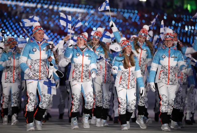 <p>Athletes from Finland wave flags during the opening ceremony of the 2018 Winter Olympics in Pyeongchang, South Korea, Friday, Feb. 9, 2018. (AP Photo/Jae C. Hong) </p>