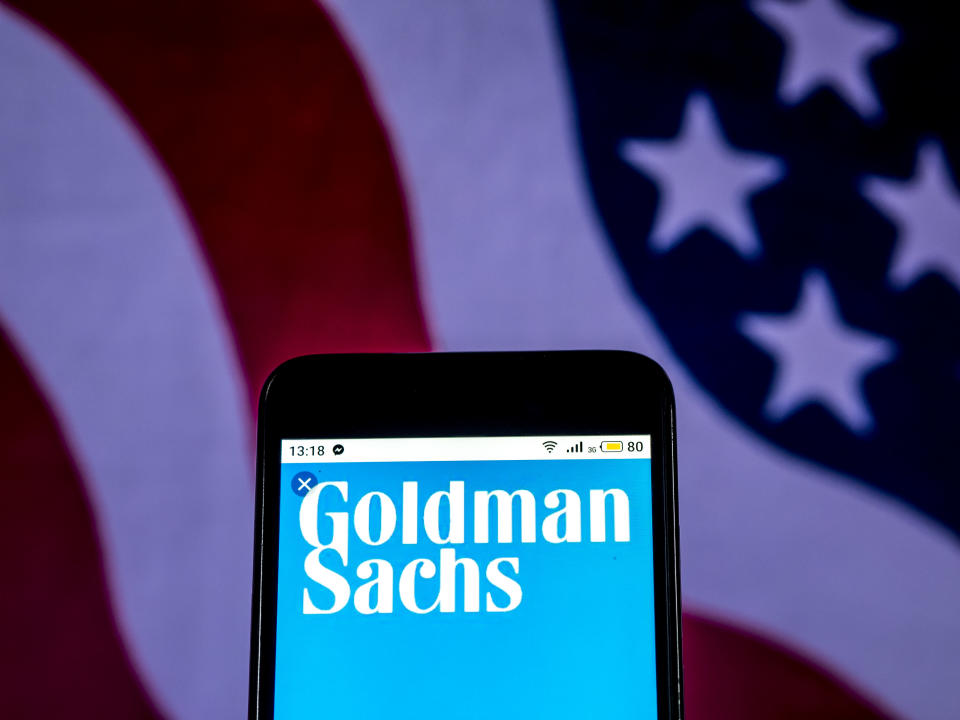 Facing charges: Goldman Sachs Investment banking company logo seen displayed on smart phone. Photo: Igor Golovniov/SOPA Images/LightRocket via Getty Images