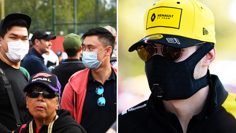Esteban Ocon and fans, pictured here wearing masks at the Australian Grand Prix.