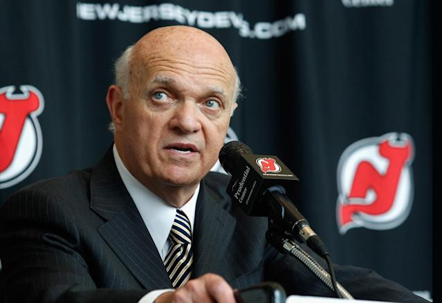 NEWARK, NJ - AUGUST 15: President and General Manager of the New Jersey Devils Lou Lamoriello addresses the media during the press conference announcing the new ownership of the New Jersey Devils on August 15, 2013 in Newark, New Jersey. (Photo by Andy Marlin/Getty Images)