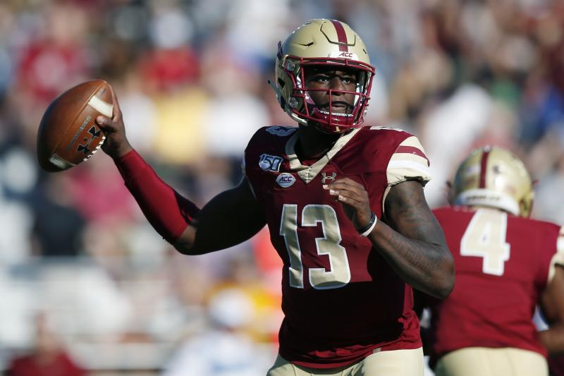 Boston College quarterback Anthony Brown passes during the first half of an NCAA college football game against Wake Forest in Boston, Saturday, Sept. 28, 2019. (AP Photo/Michael Dwyer)