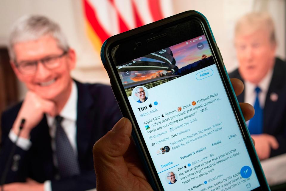 The Twitter feed of Apple chief executive Tim Cook, who turned into
