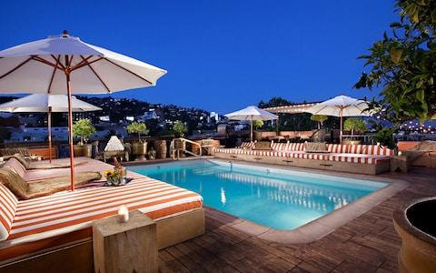 The rooftop pool at Petit Ermitage in LA