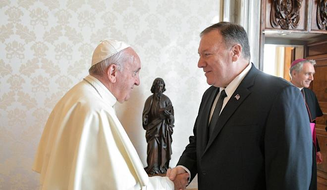 US Secretary of State Mike Pompeo (right) will not be meeting Pope Francis before the US presidential election in November. Photo: AFP