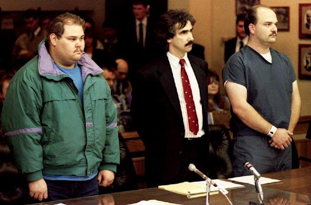 <p>It didn't take long before Shawn Eric Eckardt (left), Harding's sometimes bodyguard, and fellow defendent Derrick Smith were arrested for the attack. They're pictured here with attorney Robert Goffredi at their arraignment on charges of conspiracy to commit assault. </p>