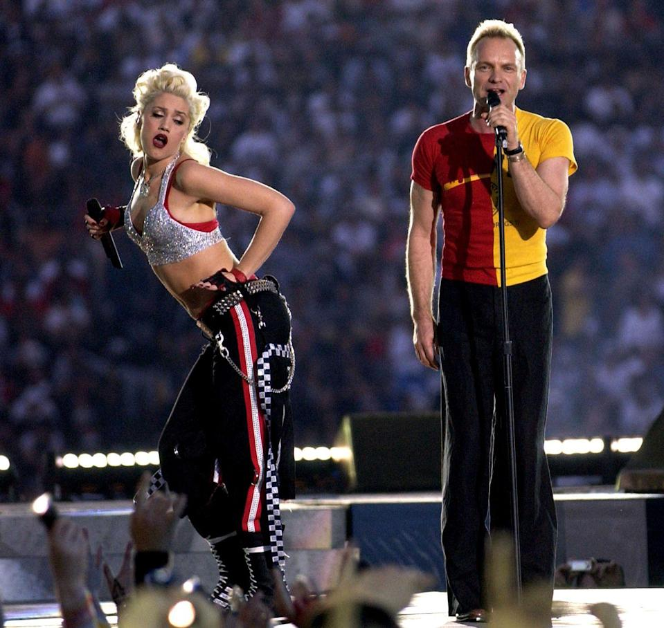 <p>The next year gave us Shania Twain, No Doubt, and Sting—and more importantly, it gave us this picture of Sting fully ignoring Gwen Stefani while she did...this.</p>