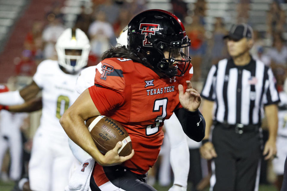 Texas Tech's Henry Colombi (3) runs with the ball during the second half of an NCAA college football game against Florida International, Saturday, Sept. 18, 2021, in Lubbock, Texas. (AP Photo/Brad Tollefson)