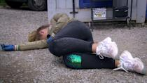 <p>When she helps Dan with his work at the garage, a car bonnet snaps shut and Amelia falls. </p>